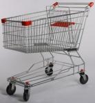 Тележка покупательская цинк 150 литров, с детским сиденьем, SXC, красный пластик (к)